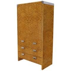 Mid-Century Modern Burl & Chrome Gentleman's High Chest Armoire Dresser Cabinet