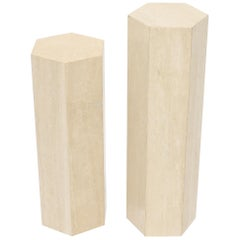 Mid-Century Modern Travertine Marble Tall Tower Shape Table Pedestal