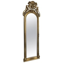 Large Baroque Florentine Mirror with a Gilt Frame and Crown