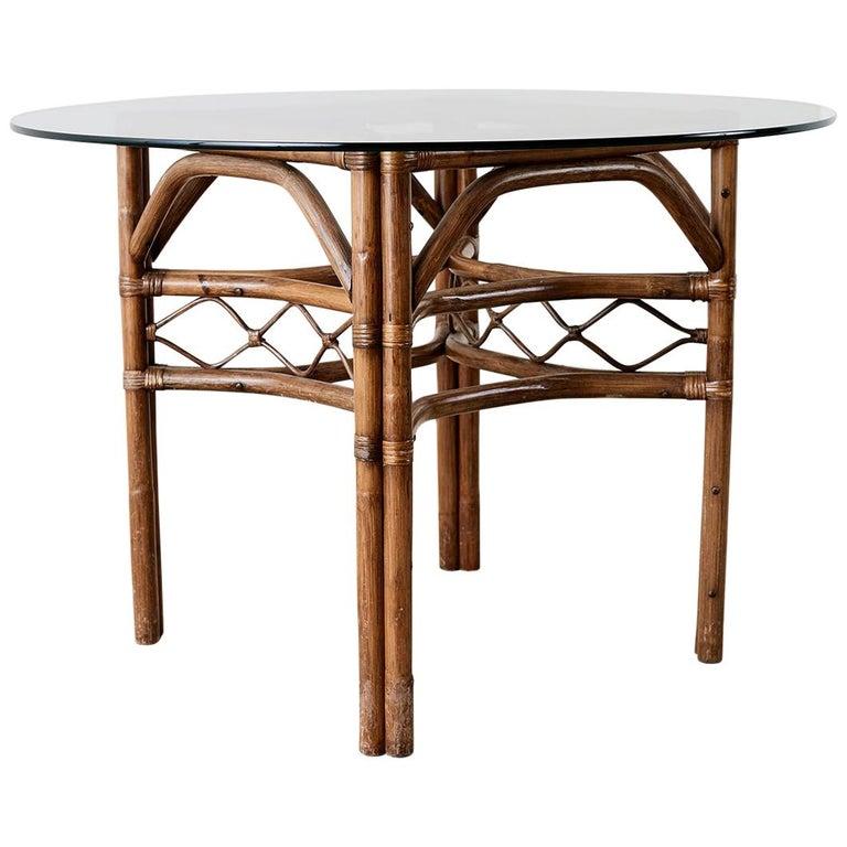 Brown Jordan Bamboo Rattan Glass Dining Table