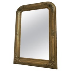 Round Top Antique Biedermeier Wall Mirror Gilt Frame