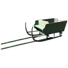 Antique Salzburg Sledge in Green with Heart Carvings