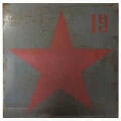 Vintage Industrial Red Star Metal Steel Wall Art Sign Panel