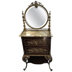 19th Century French Ornate Vanity Dressing Table with Mirror