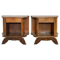 Pair of Midcentury Nightstands French Side Cabinets Bedside Tables Walnut
