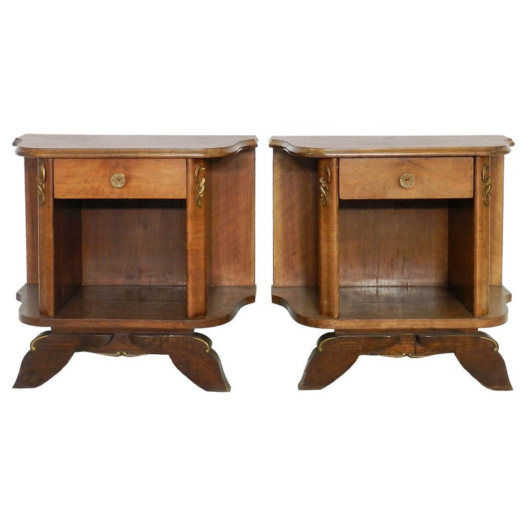 Pair of Midcentury Nightstands French Side Cabinets Bedside Tables Walnut For Sale