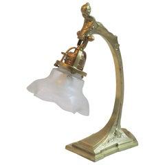 Secessionist Figural Brass Table Lamp, Austria, 1900s