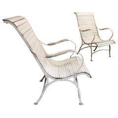 1920s Antique Wooden Slatted Garden Chairs