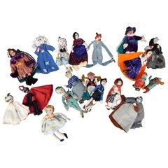 Handmade Belgian Folk Art Textile Marionette Dolls from Various Fairy Tales