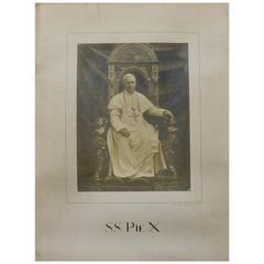 Large Signed Sepia Photograph of Pope S.S Pius X Dated 1903