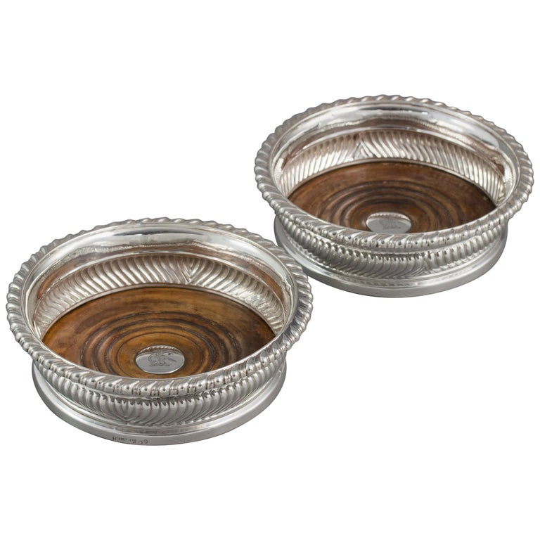 Large Pair of George III Silver Wine Coasters, Sheffield, 1819 For Sale