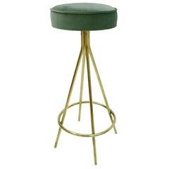 Modern Circular Brass and Cotton Velvet Italian Bar Stool
