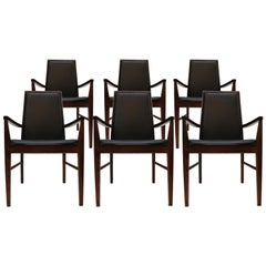 Dyrlund Mid-Century Modern Set of Six Rosewood and Leather Danish Armchairs