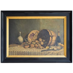 Large 19th Century French Still Life Painting Showing Oysters and Champagne
