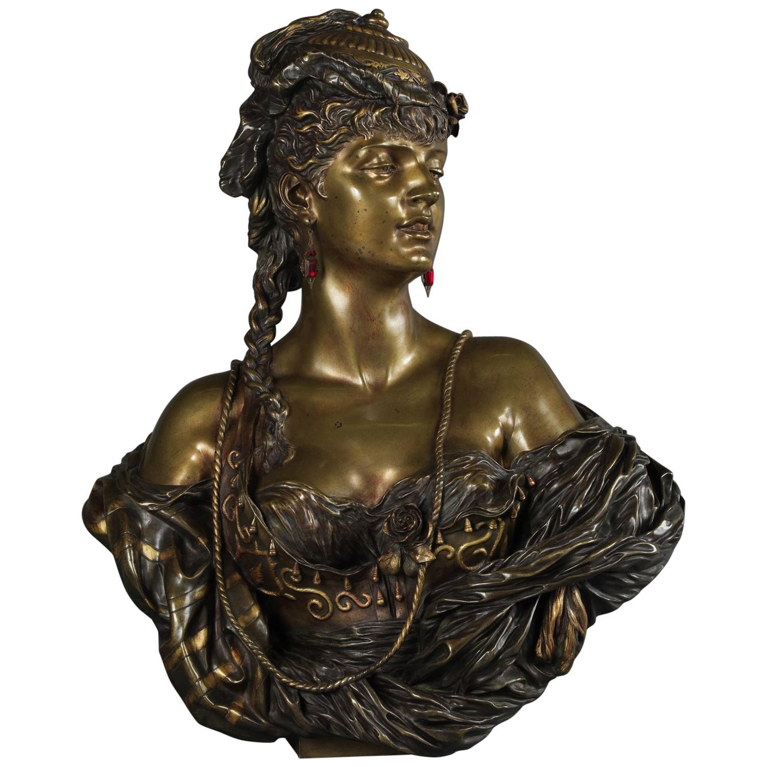 Multipatinated Bronze Orientalist Female Bust by Henri Honoré Plé, Dated 1883