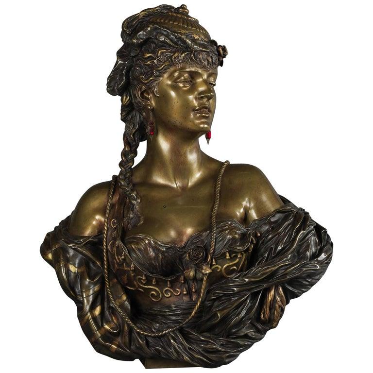 Multipatinated Bronze Orientalist Female Bust by Henri Honoré Plé, Dated 1883 For Sale