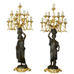 Pair of Bronze Figural Candelabra by Charles Cumberworth, circa 1850