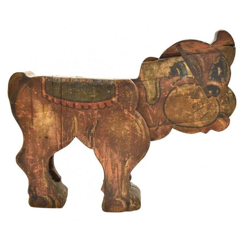 Spanish, 1850s Fair Carousel Wooden Dog For Sale