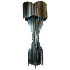 Polished Steel Table Lamp Attributed to Maison Charles, France, 1970s