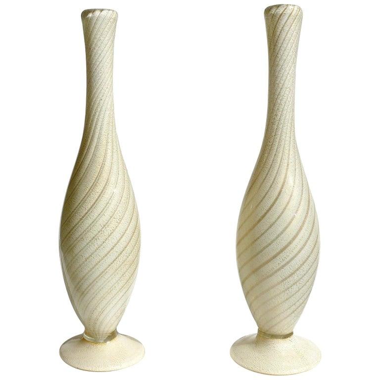 Alfredo Barbini Murano Gold and Aventurine Flecks Swirl Italian Art Glass Vases For Sale