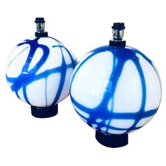Pair of Large Round White/Blue Murano Glass Table Lamps, Mid-Century Modern