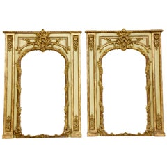 Pair of Louis XV Style Trumeau Mirrors, French Green with Aged Gold Highlights