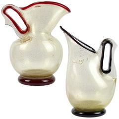 Barovier Toso Murano Red Purple Gold Flecks Italian Art Glass Pitcher Vases