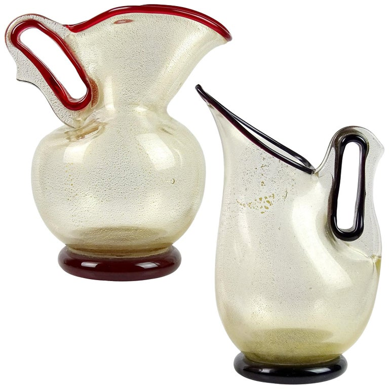 Barovier Toso Murano Red Purple Gold Flecks Italian Art Glass Pitcher Vases For Sale