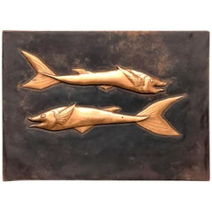 Fossil Sturgeon Fish Copper Wall Decoration Wall Panel Picture Vintage, 1970s