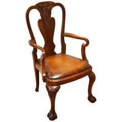 20th Century Queen Anne Revival Solid Mahogany Armchair