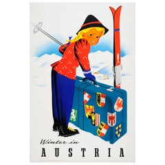Original Vintage Poster - Winter Sports In Austria Ft. Ski Resort Luggage Labels