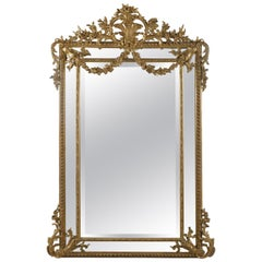 Finely Carved Louis XVI Style Marginal Frame Giltwood Mirror, circa 1880