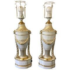 Royal Copenhagen a Pair of Baluster-Shaped Lamps on Base