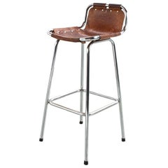 Les Arcs Stool in Camel Coloured Leather, Mid-Century Modern French, 1960s