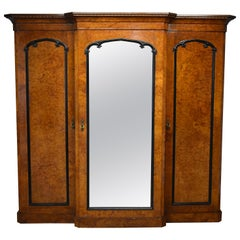 19th Century Victorian Burr Walnut Breakfront Wardrobe by R Crosby & Sons, 1827