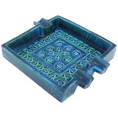 Italian 1960s Bitossi by Aldo Londi Rimini Blue Glazed Ceramic Square Ashtray