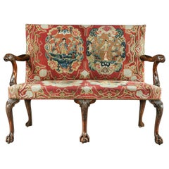 18th Century George II Mahogany Settee with Needlework Upholstery