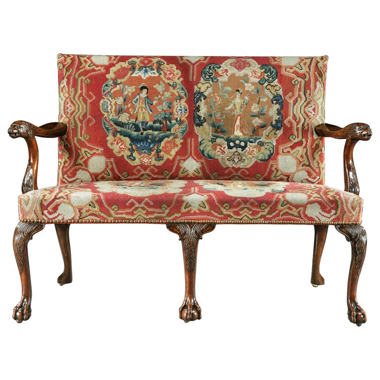 18th Century George II Mahogany Settee with Needlework Upholstery For Sale