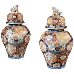 19th Century Pair of Large Japanese Imari Vases with Gilding