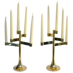 Pair of Modular Five-Arm Polished Brass Candle Holders