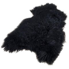 Organic Large Natural Dark Sheepskin Rug or Hide, Iceland Cattle, 2018