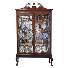 19th Century English Chippendale Style Mahogany Display Curio Cabinet