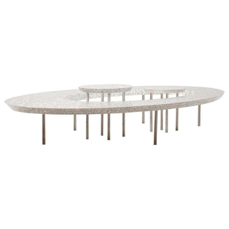Bling Bling Coffee Table in mother of pearl - Unique Piece For Sale
