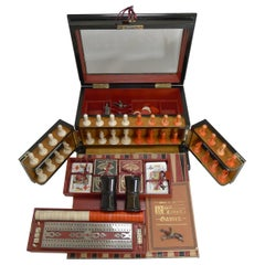 Antique English Glass Coromandel and Games Compendium / Box, circa 1880