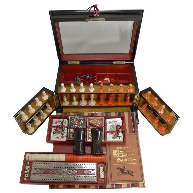 Antique English Glass Coromandel and Games Compendium / Box, circa 1880 For Sale