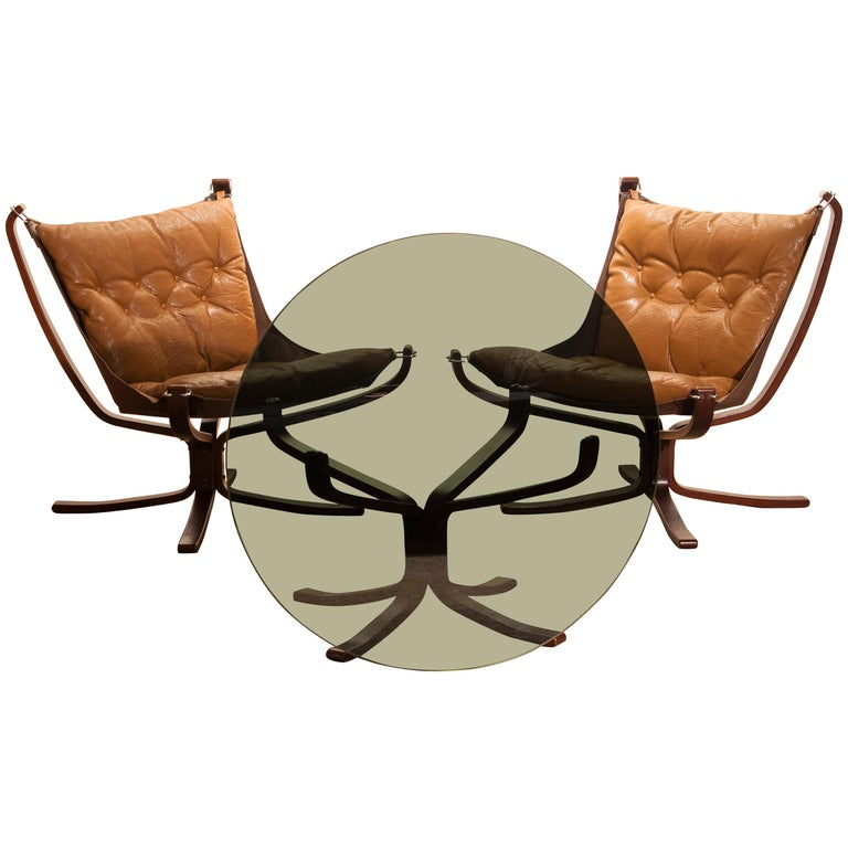 Set Camel Leather 'Falcon' Lounge Chairs and Coffee Table by Sigurd Ressell For Sale