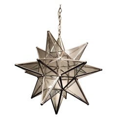 Large Leaded Glass Moravian Star Lighting Fixture