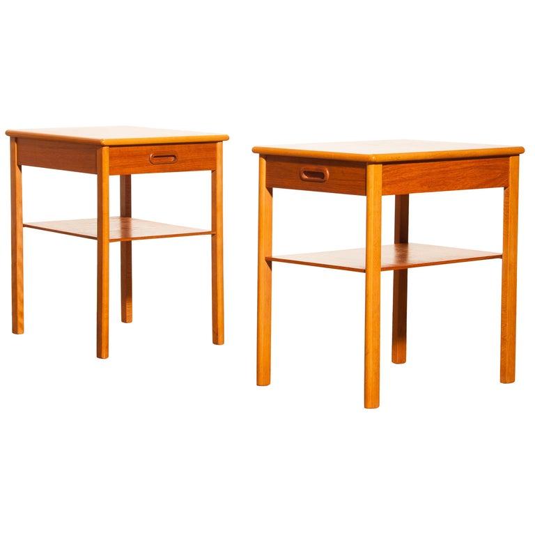 Pair of Teak Bedside Tables by Säffle, Sweden, 1950s For Sale