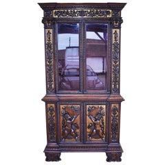 19th Century Renaissance Revival Heavily Carved Walnut Bookcase