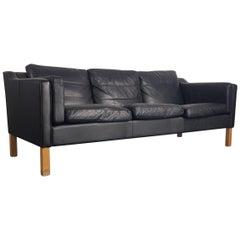 Vintage Midcentury Danish Mogensen Style Three-Seat Sofa in Black Leather